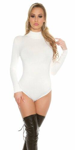 Dámske svetrové body/pletené body (Biela)