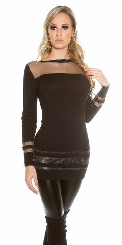Dámsky dlhý sveter s priesvitnými časťami | Čierna