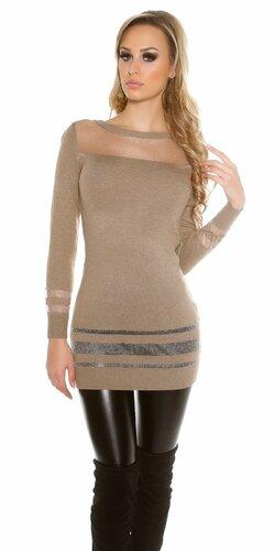 Dámsky dlhý sveter s priesvitnými časťami | Cappuccino