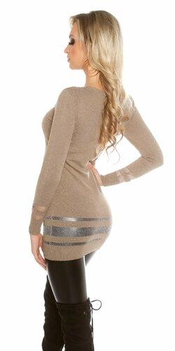 Dámsky dlhý sveter s priesvitnými časťami Cappuccino