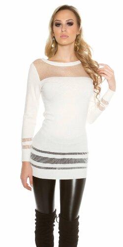 Dámsky dlhý sveter s priesvitnými časťami | Krémová