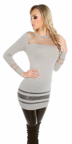 Dámsky dlhý sveter s priesvitnými časťami | Šedá