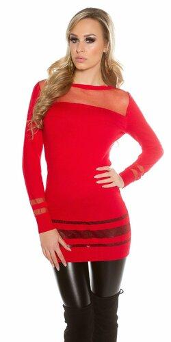 Dámsky dlhý sveter s priesvitnými časťami | Červená