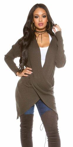 Dámsky sveter ,,wrap look,, Khaky
