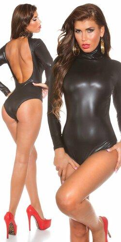 Dámske body ,,latex look,, | Čierna