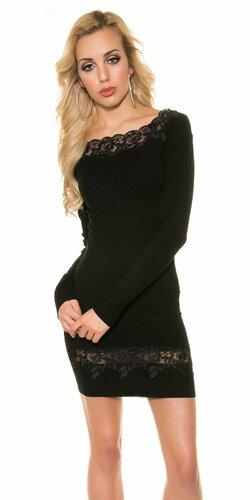 Úpletové dámske šaty s čipkou (Čierna)