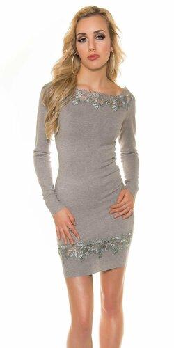Úpletové dámske šaty s čipkou | Šedá