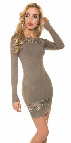 Úpletové dámske šaty s čipkou (Béžová)