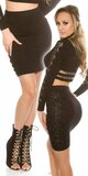 Dámska zvýšená pletená sukňa s čipkou Čierna