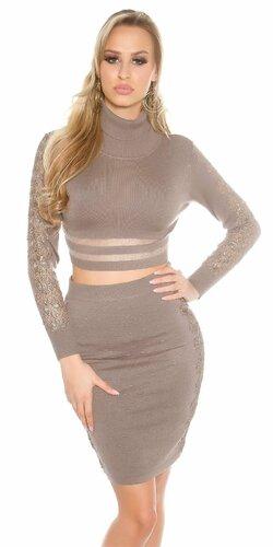 Dámska zvýšená pletená sukňa s čipkou Cappuccino