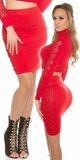 Dámska zvýšená pletená sukňa s čipkou Červená