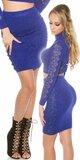 Dámska zvýšená pletená sukňa s čipkou Kráľovská modrá