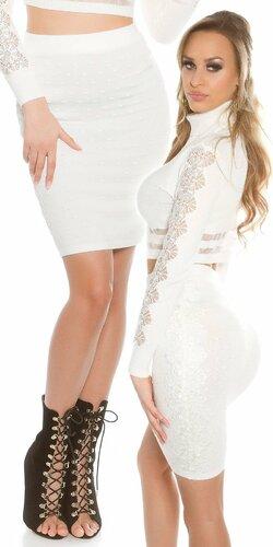 Dámska zvýšená pletená sukňa s čipkou Biela