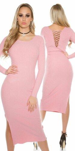 Dámske maxi pletené šaty | Bledá ružová