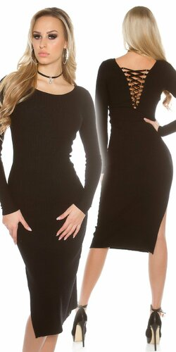 Dámske maxi pletené šaty Čierna