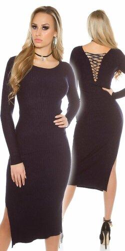 Dámske maxi pletené šaty | Tmavomodrá