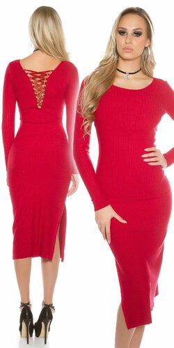 Dámske maxi pletené šaty Červená