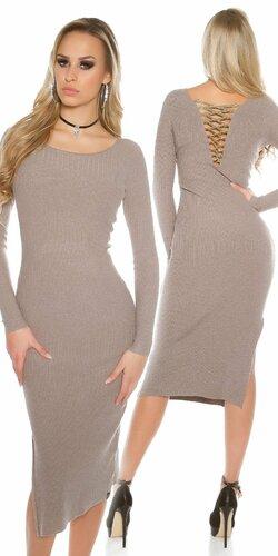 Dámske maxi pletené šaty | Béžová