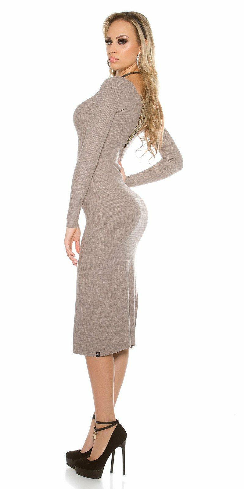 Dámske maxi pletené šaty  Veľkosť Univerzálna (XS S M) Farba Béžová 88ca89ca843