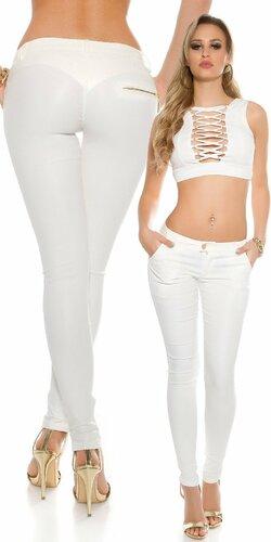 Sexy dámske nohavice koženého vzhľadu Biela