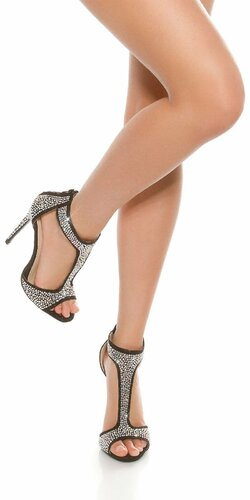 Kamienkové dámske členkové sandálky | Čierna