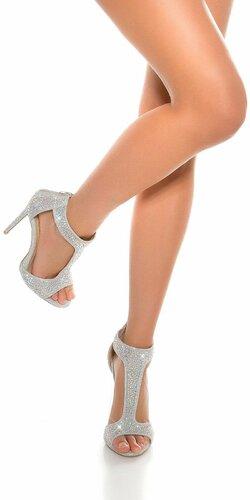 Kamienkové dámske členkové sandálky | Strieborná
