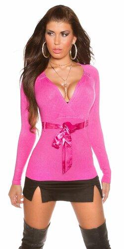 Dámsky sveter s pásovým látkovým opaskom (Ružová)