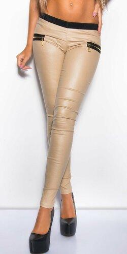 Nohavice dámske koženého vzhľadu | Béžová