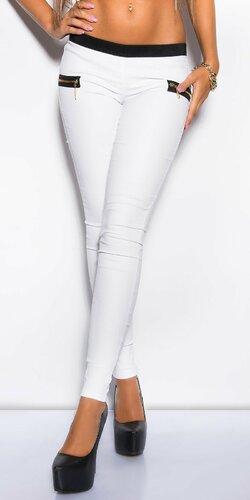 Nohavice dámske koženého vzhľadu | Biela