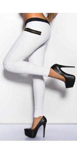 Nohavice dámske koženého vzhľadu Biela