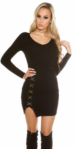 Dámske úpletové šaty s dekoratívnou retiazkou | Čierna