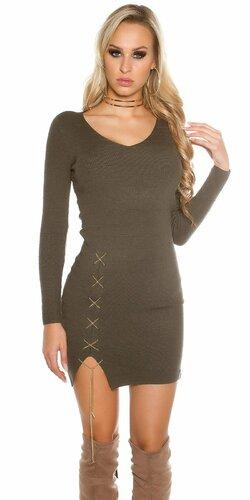 Dámske úpletové šaty s dekoratívnou retiazkou | Khaky