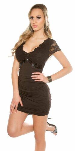 Dámske mini šaty s čipkou KouCla | Čierna