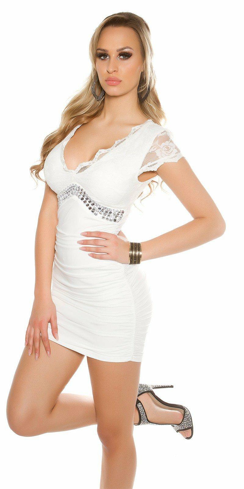05e5bc726051 Dámske mini šaty s čipkou KouCla  Veľkosť Univerzálna (XS S M) Farba Biela