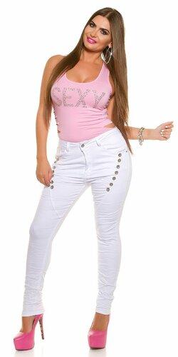 Biele džínsy pre moletky Biela