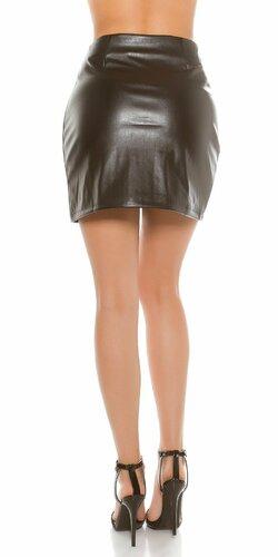 Sexy dámska mini sukňa koženého vzhľadu Čierna