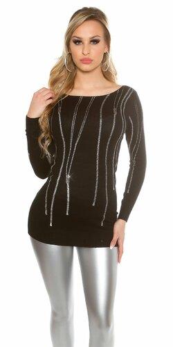 Dámsky pulóver ,,zip print,, s kamienkami | Čierna