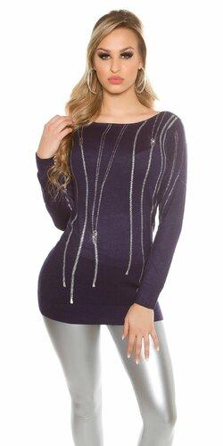 Dámsky pulóver ,,zip print,, s kamienkami | Tmavomodrá