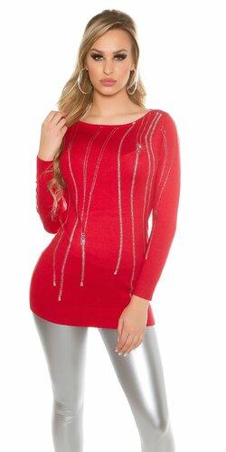 Dámsky pulóver ,,zip print,, s kamienkami | Červená