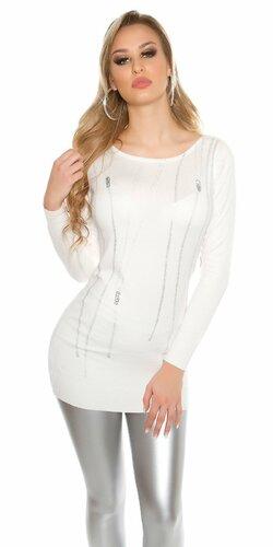 Dámsky pulóver ,,zip print,, s kamienkami | Biela