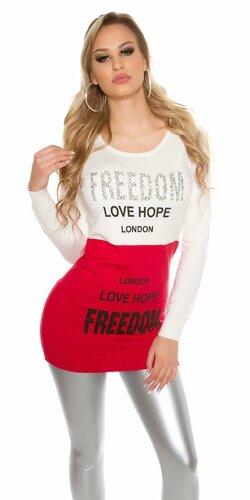 Dámsky dlhý sveter ,,FREEDOM LOVE HOPE...,, | Červená