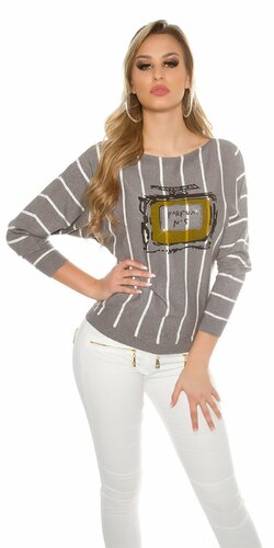 Štýlový dámsky sveter pruhovaný s potlačou | Šedá