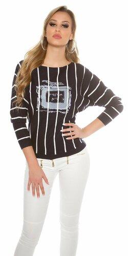 Štýlový dámsky sveter pruhovaný s potlačou | Tmavomodrá