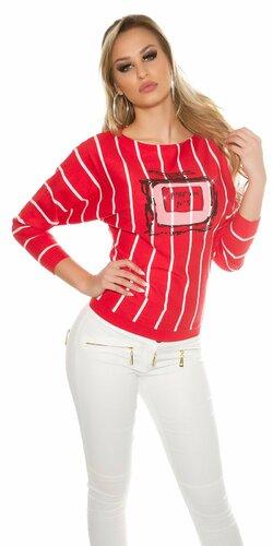 Štýlový dámsky sveter pruhovaný s potlačou | Červená