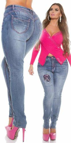 Push up džínsy pre moletky | Modrá