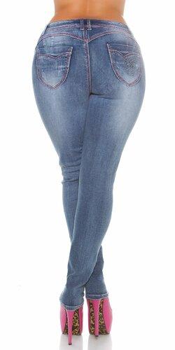 Push up džínsy pre moletky Modrá