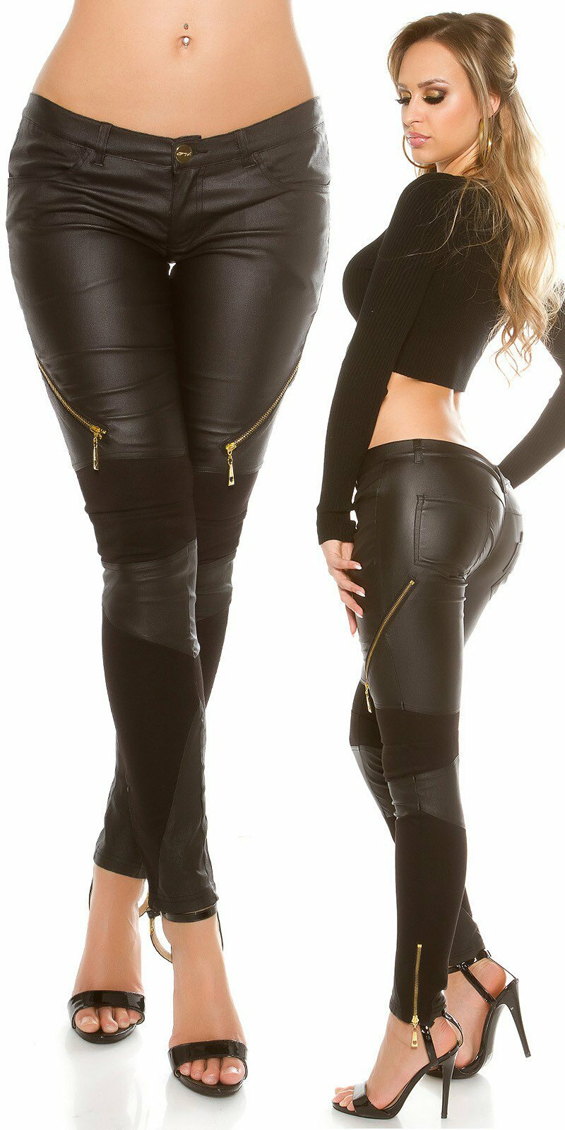 5b30f74f02a2 Dámske čierne nohavice koženého vzhľadu KouCla  Veľkosť M Farba Béžová