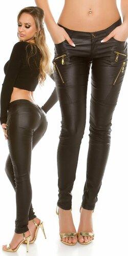 KouCla nohavice ,,leatherlook,, so zipsami | Čierna