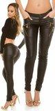 KouCla nohavice ,,leatherlook,, so zipsami Čierna