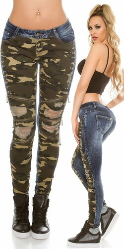 ,,Camouflage,, džínsy s rozparkami